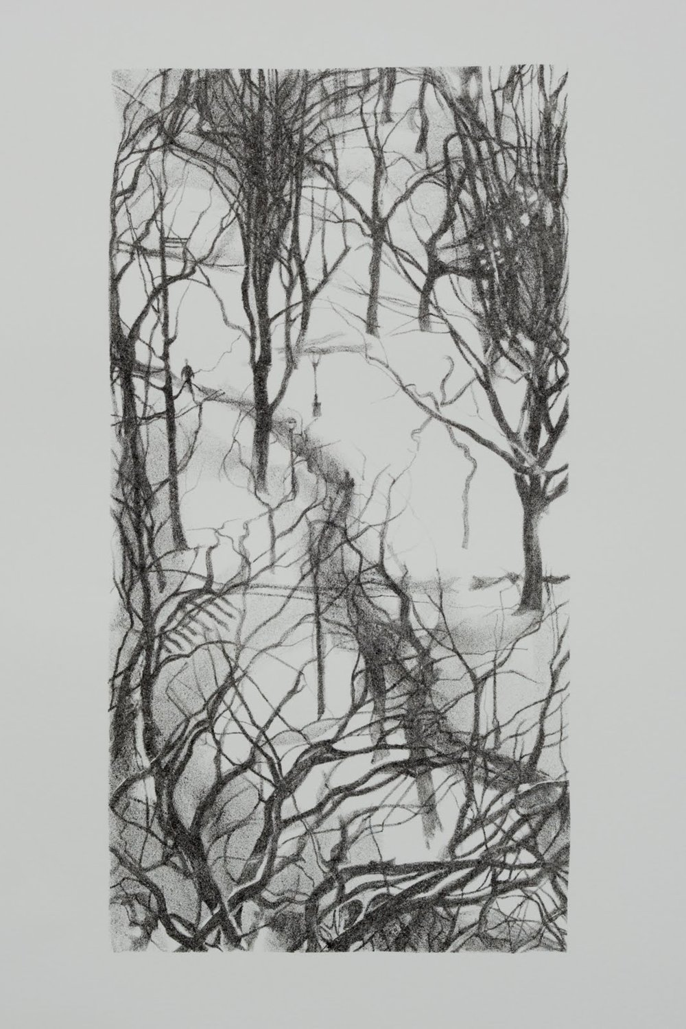 """""""Central Park Snow"""", lithograph, 13 x 6.5 in."""