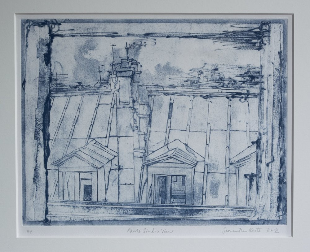 """Paris Studio View"", collograph intaglio, 10 3/4 x 14 in."