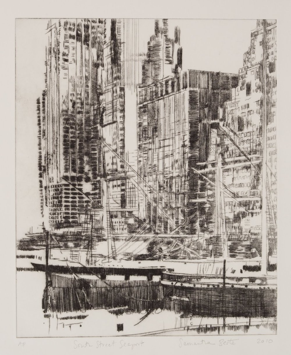""""""" South Street Seaport"""", drypoint etching, 14 x 12 in."""