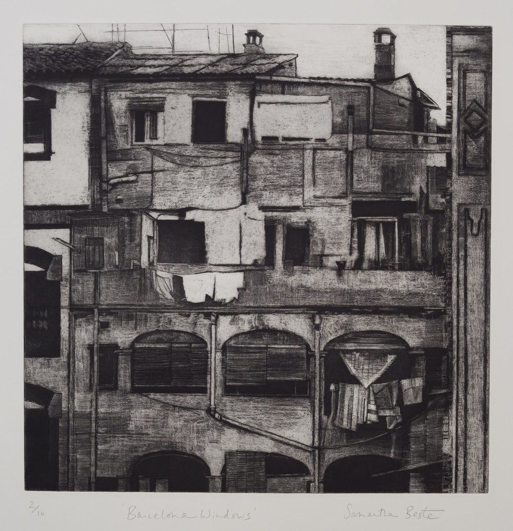 """""""Barcelona Windows"""", etching and aquatint (edition of 10), 17.5 in. square"""