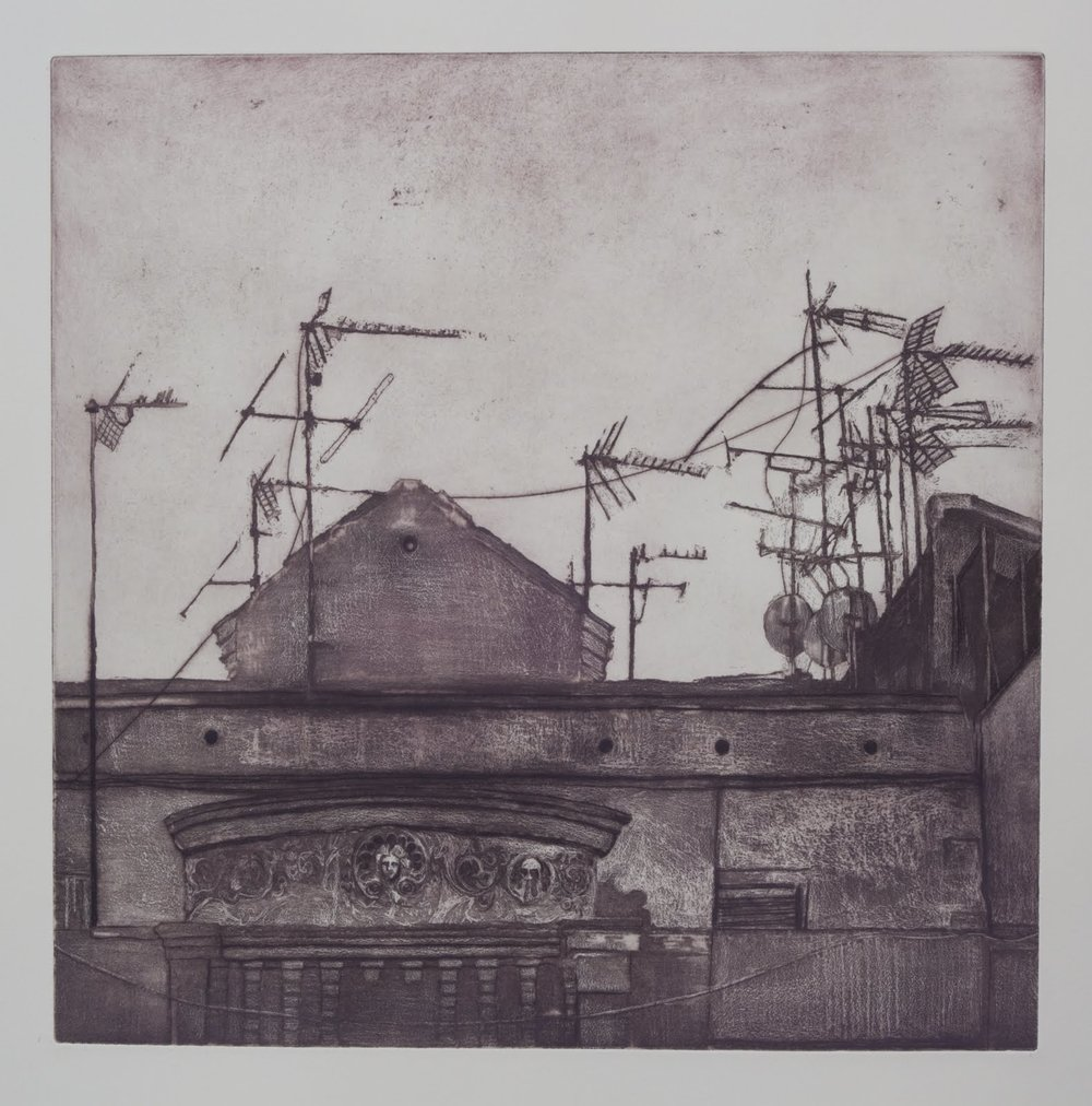 """Barcelona Rooftop"", etching,aquatint, drypoint, 17.75 x 18 in."