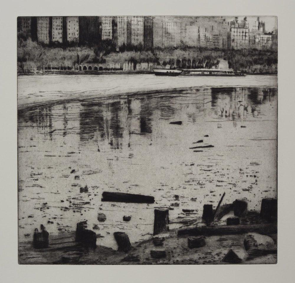 """Edgewater"", etching, aquatint, spitbite, 14 x 15 in."