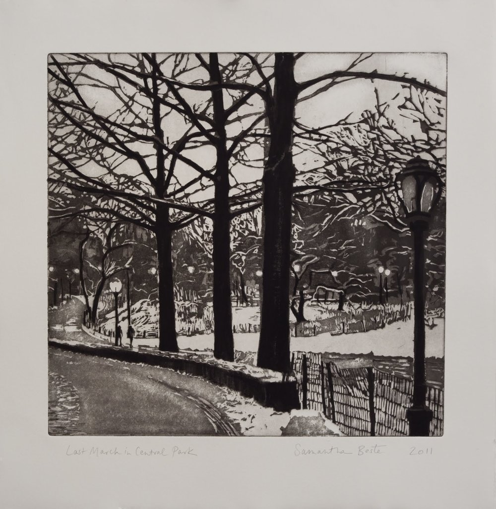 """Last March in Central Park"", Etching/Aquatint with black ink and gouache, 14 x 14 in."