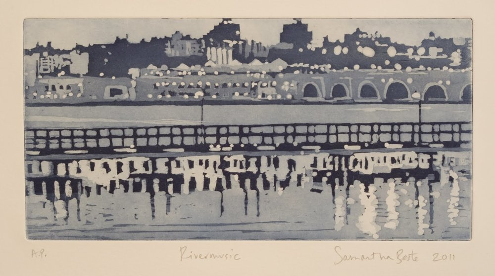 """""""Rivermusic"""", Aquatint with blue ink, 6 x 12 in."""