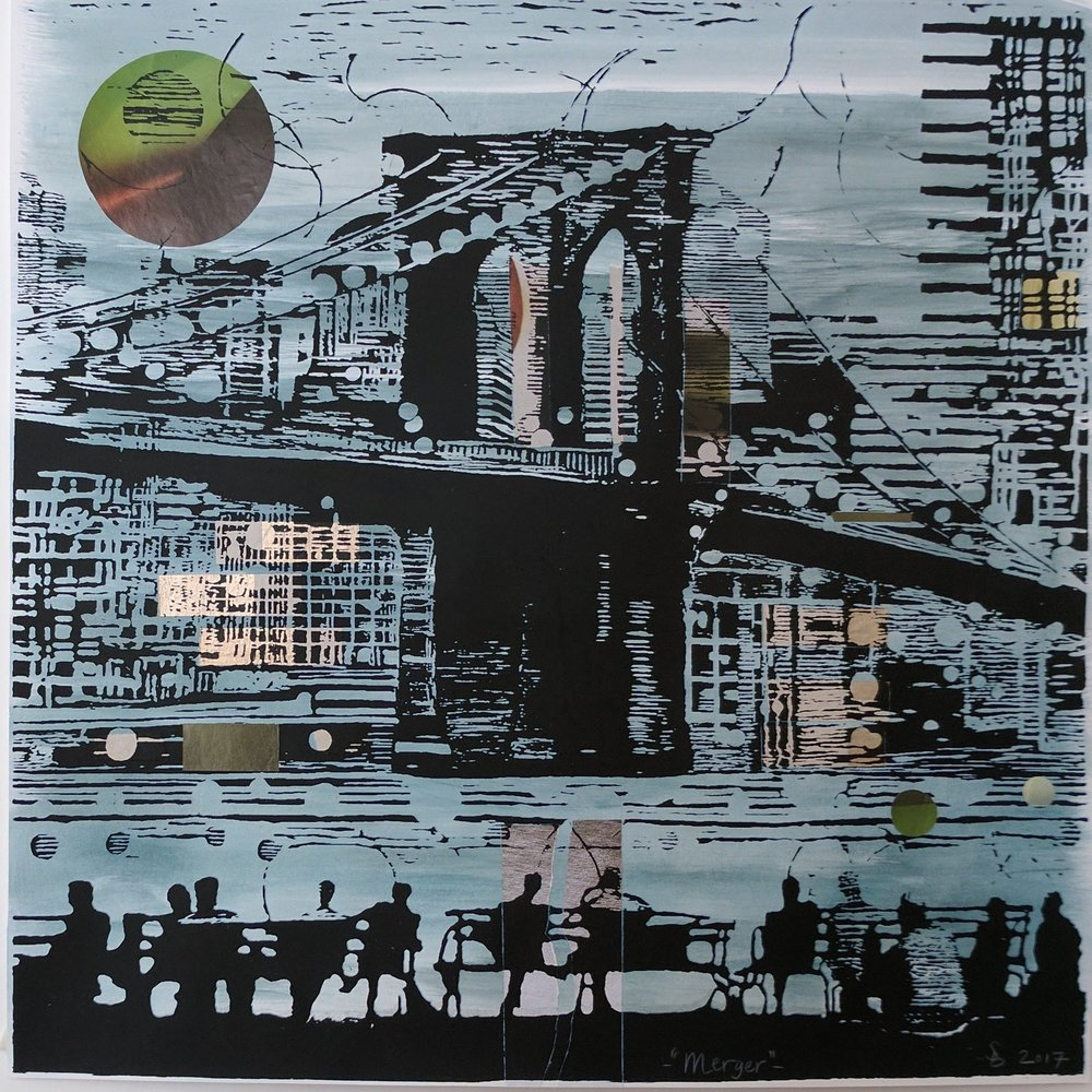 """Merger"", serigraph/collage, 20""x 20"""