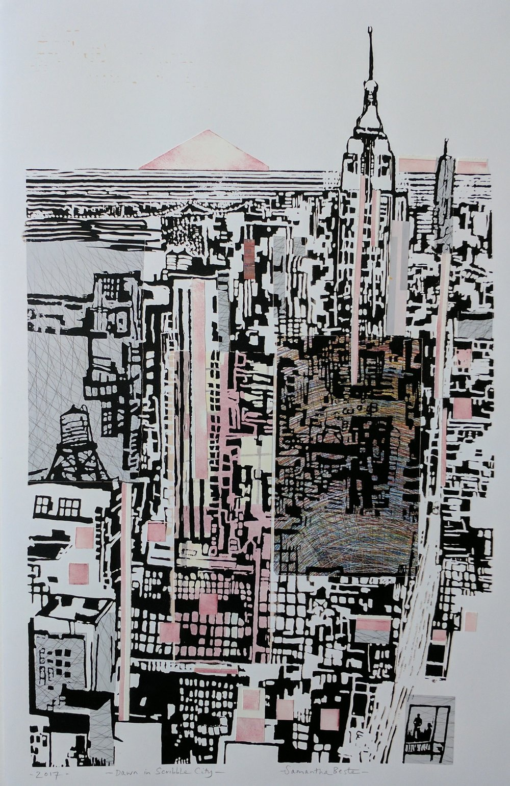 "Dawn in Scribble City, serigraph/collage, 20""x30"""