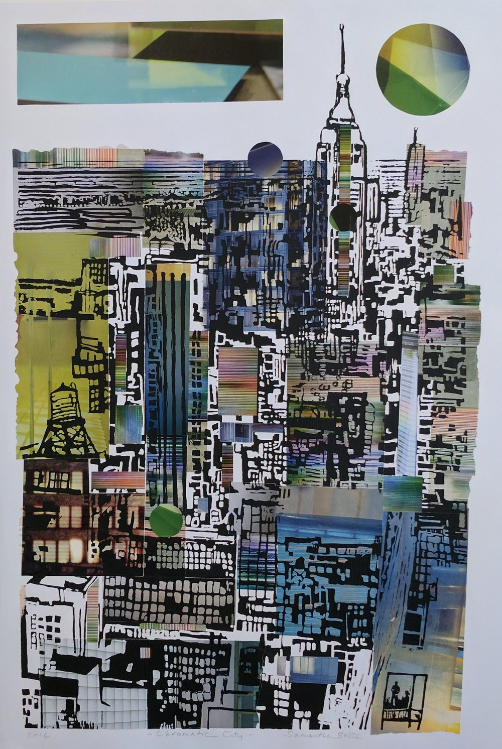 """Chromatic City"", serigraph/collage, 20""x30"""