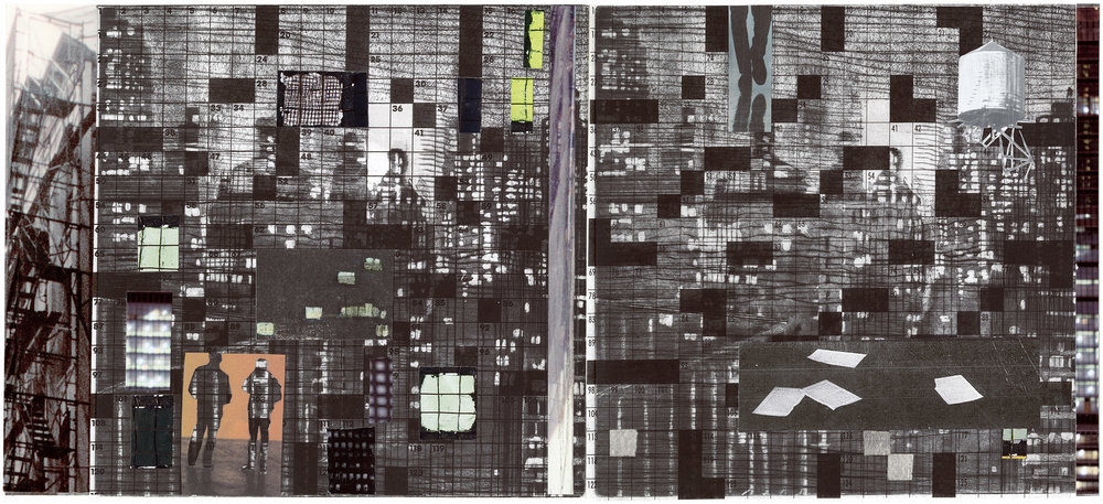"""Puzzled People (Fire Escape)"", aquatint with collage, 20""x 10"""