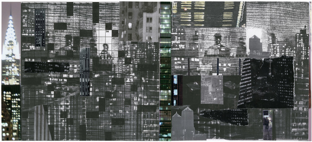 """Puzzled People (Chrysler)"",aquatint with collage, 20""x 10"""