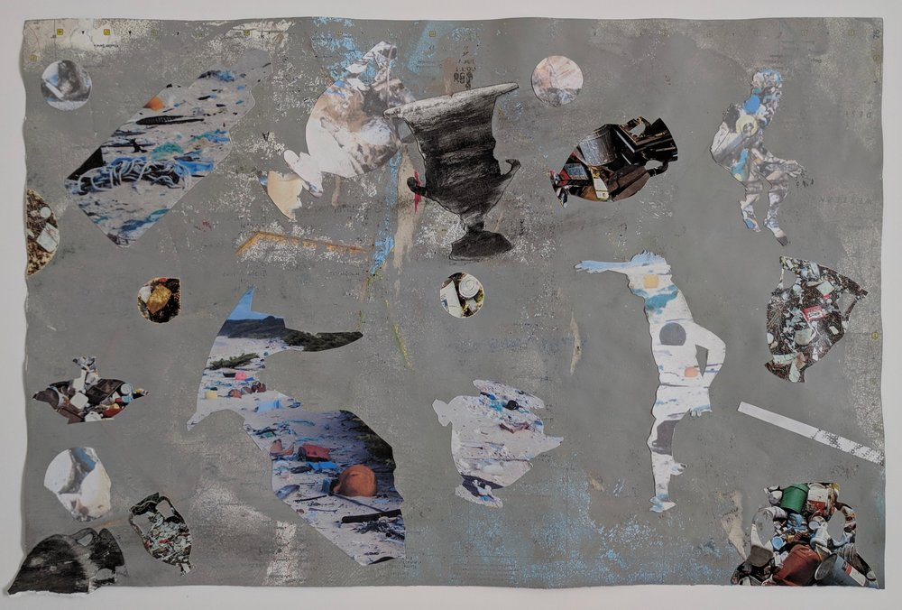 """Antic Ocean I"", house paint, eradicated map, collage, 12"" x 18.25"""