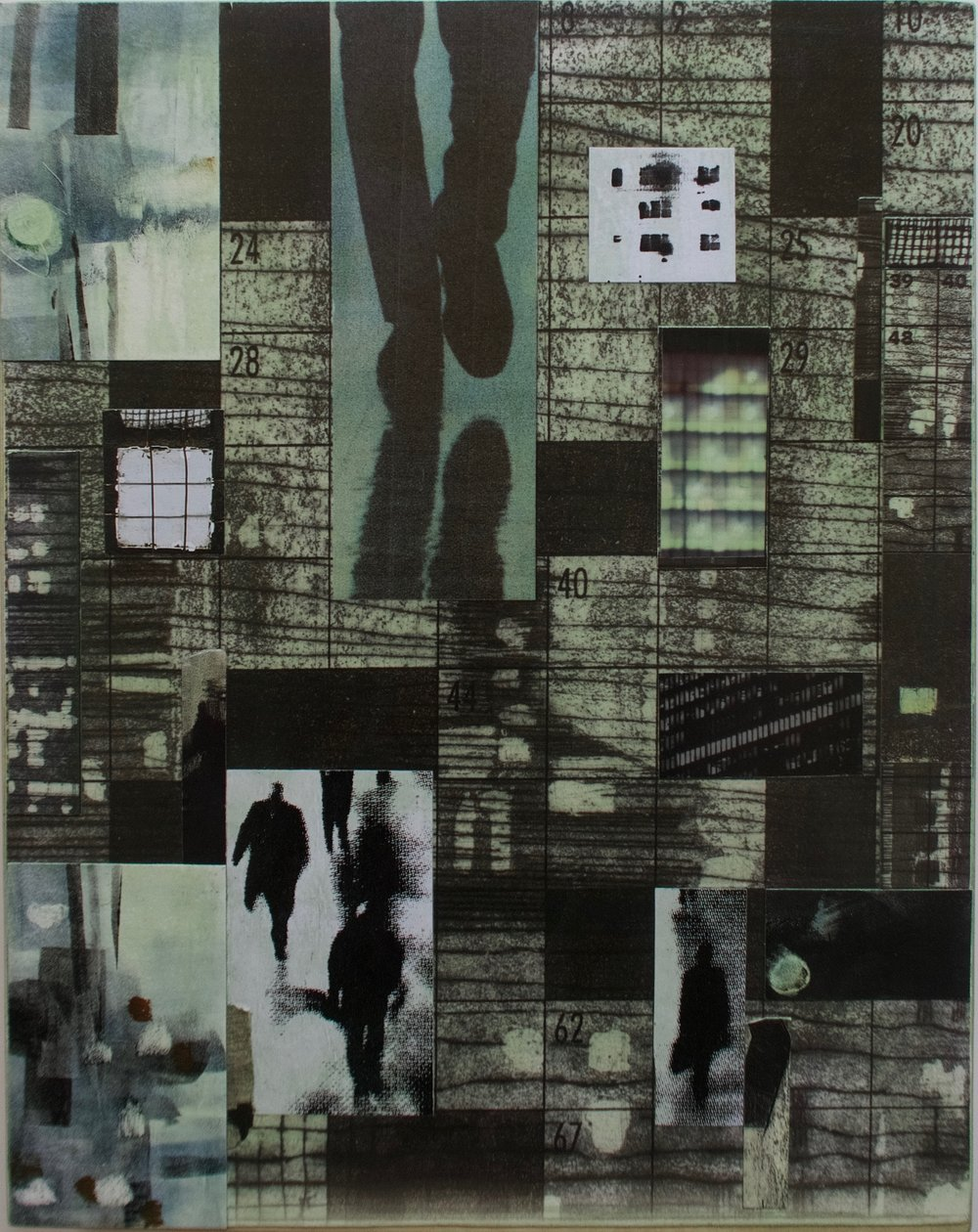 """""""Green Pedestrians"""", collage/archival pigment print/acrylic, 11 x 14 in."""