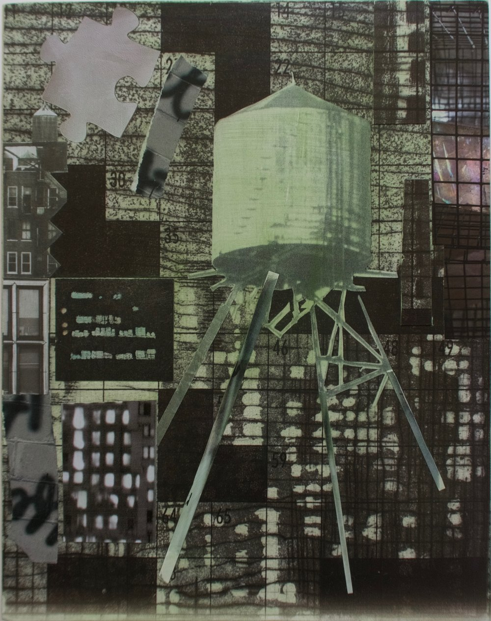 """Green Watertower"", collage/archival pigment print/acrylic, 11 x14 in."