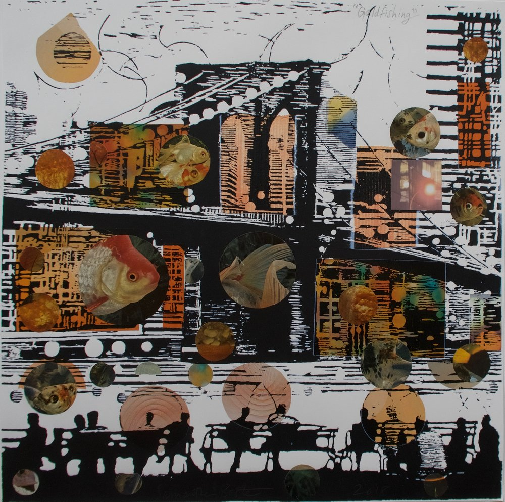 """Goldfishing"", collage/serigraph, 22 x 22 in."