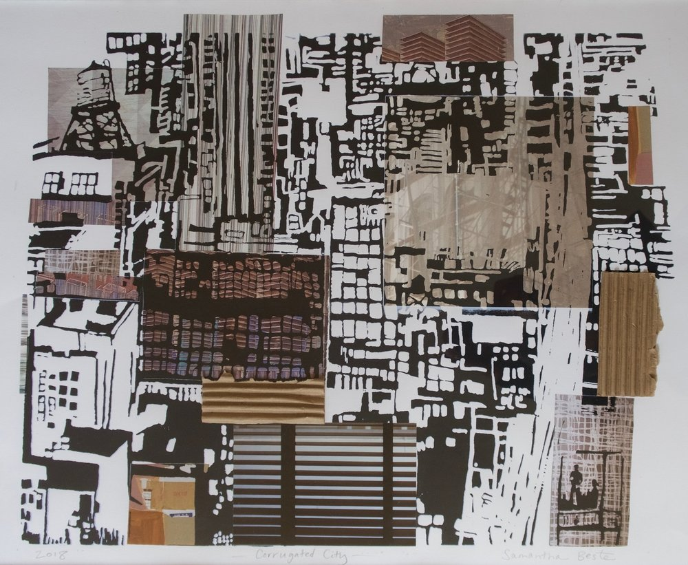 """Corrugated City"", collage/serigraph, 31 x 25 in."