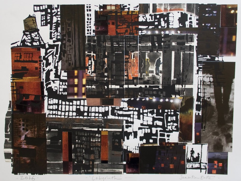 """Labyrinth"", collage/monotype/serigraph, 33 x 27 in."