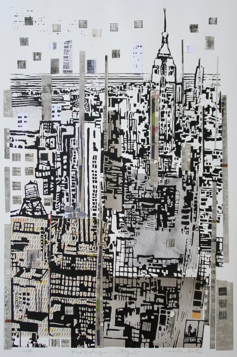 """Fibrillating City"", collage/serigraph, 22 x 33 in."