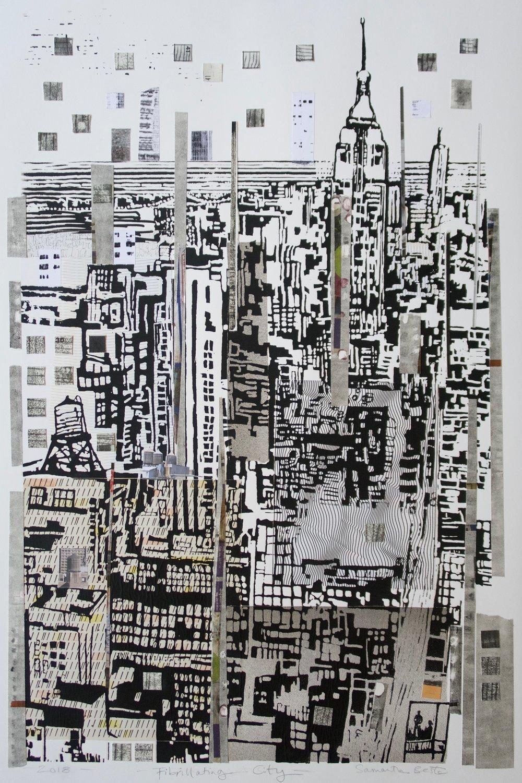 """Fibrillating City"", collage/serigraph, 22 x 33 in."