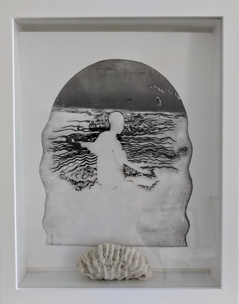 """Liminal II"", Drypoint etching in shadow box with coral, 8.5""x11""x2"""