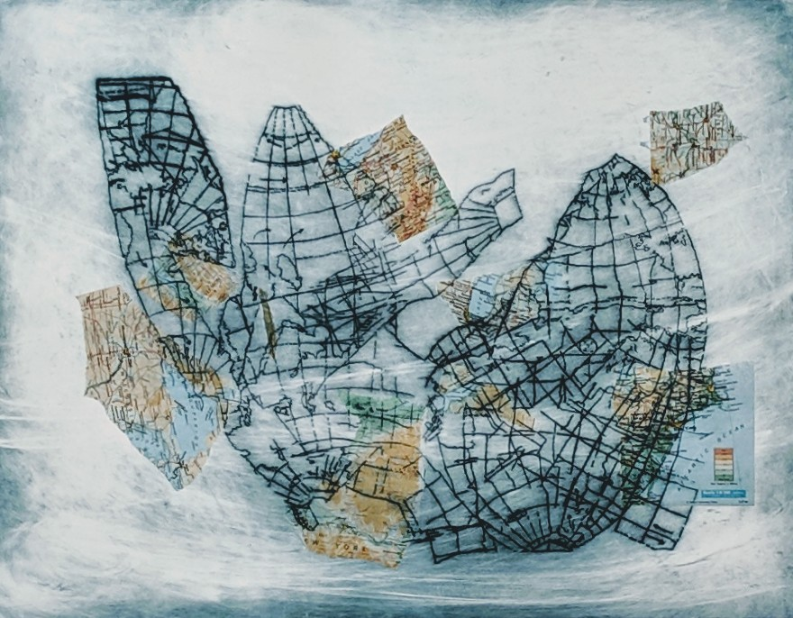 """Collapsed Map IV"", Drypoint etching with chine-colle on Rives paper, 20"" x 30"""