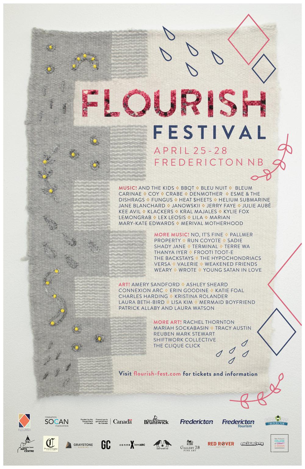 FLOURISH FESTIVAL 2019 - Poster by Robin Goodine & Emily Blair (textiles) & Erin Goodine (graphics)