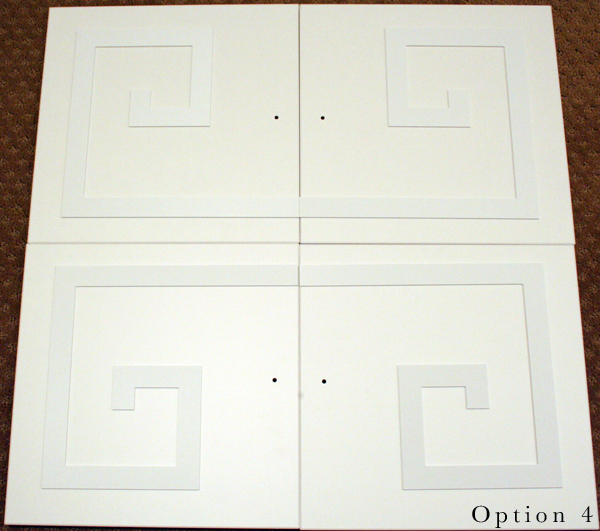 Ikea Expedit doors with O'verlays Custom Greek Key Pattern - placement option 4 // Arianna Belle One Room Challenge Week 4 update http://ariannabelle.com/blog