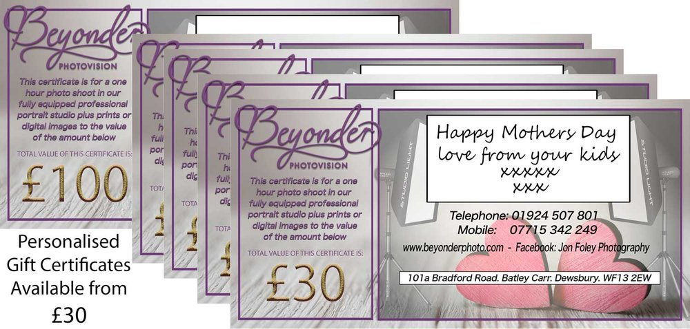 GIFT CERTIFICATES - Range of personalised Gift certificates for all of our services. Please contact us for more details