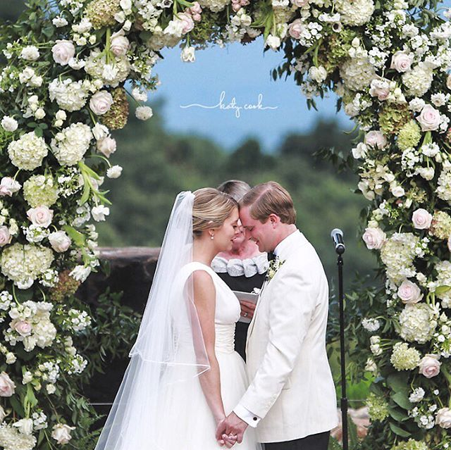 As we light the first fire in the fireplace this weekend, we're looking back on a summer day with the most beautiful arbor. #ncmountainwedding #millefleursfloral #hcwedding 📷: @katycookphotography venue: @switzerlandinnnc  beautiful bride: @jessjketner