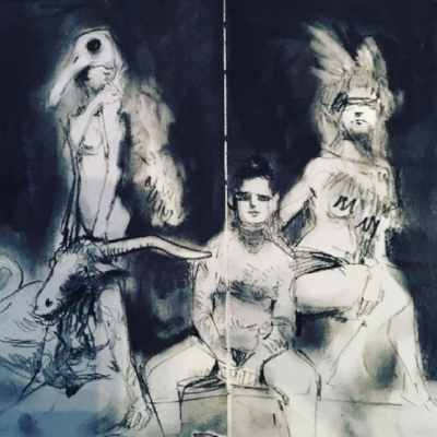 Models posing at Wilderness Festival's Art Macabre taxidermy themed salon. Drawing by Jake Spicer, 2016