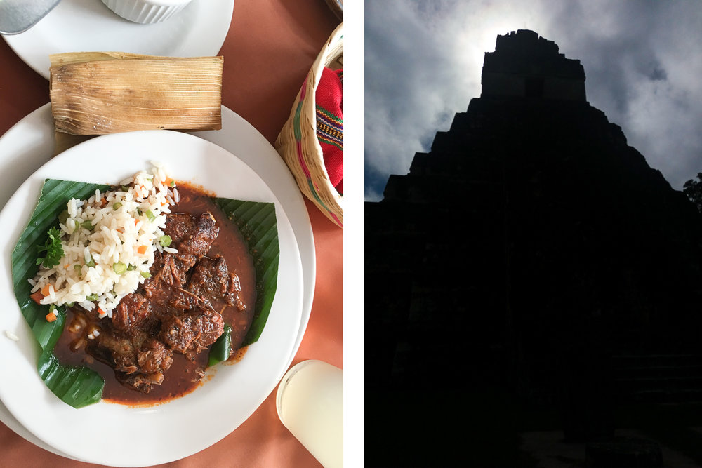 Estofado (beef Stew) (left); Temple I at 5am during morning trek (right)