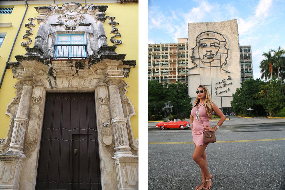 La Havana's beautiful architecture (left); Plaza de la Revolucion (right)