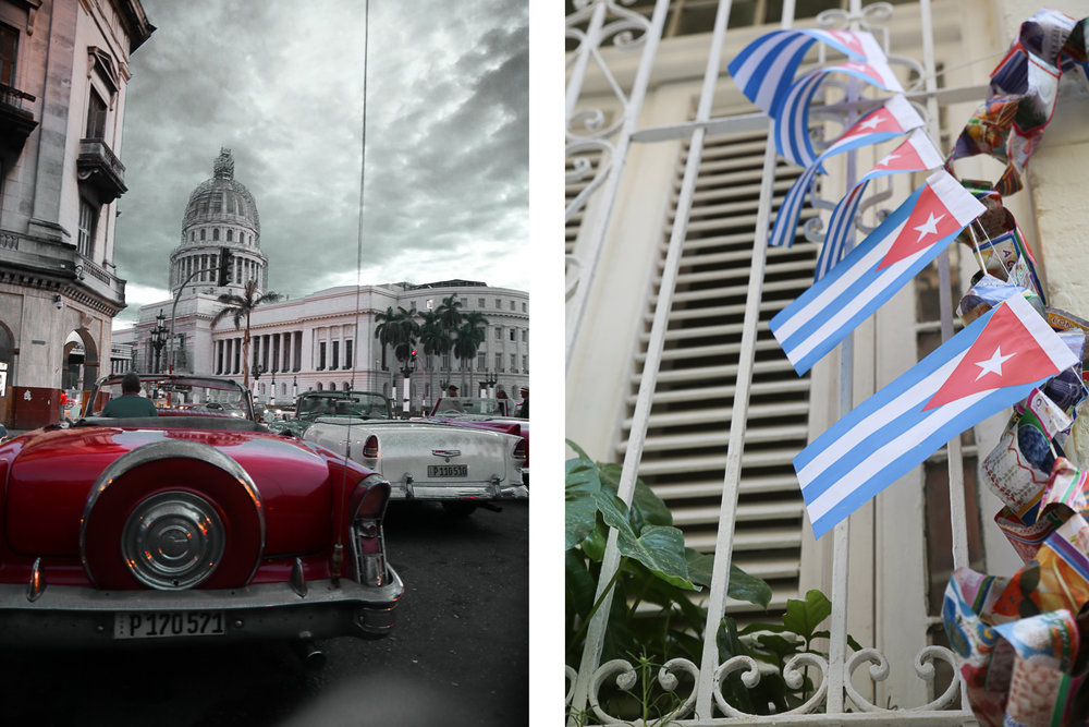 Classic cars in front of El Capitolio (left); Cuban house decor (right)