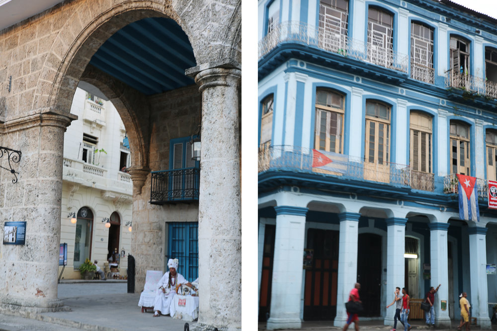 Cubana in traditional clothing (left); Everyday life in La Havana (right)