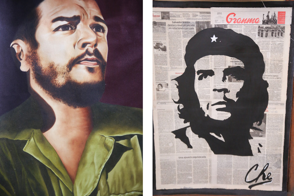 Two  powerful historic figures in Cuba: Fidel Castro (left) and Ernesto Che Guevara (right)