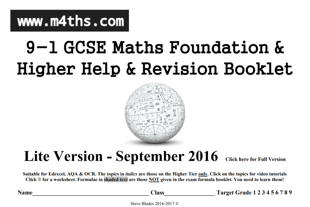 Excellent Maths revision booklet containing breakdown of GCSE topics with helpfulp tips. Credit to M4ths.com. -