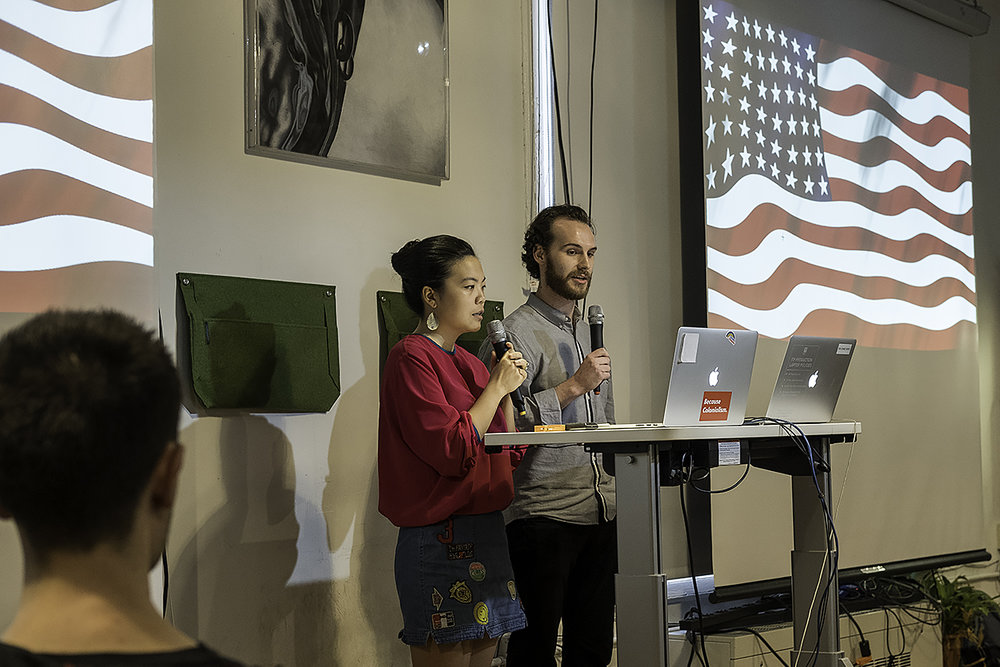 Photograph from a performance of the poem at ITP, New York University