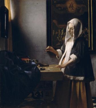 woman holding a balance. 1662-1663