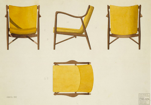 model 45 chair watercolours. photo by p. klemp