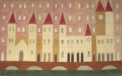 gouache and watercolor on paper. untitled (facades) ca. 50