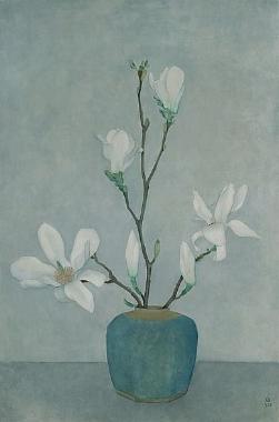 magnolias in blue pot. 1958
