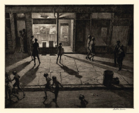 spring night, greenwich village. etching with drypoint on laid paper. 1930