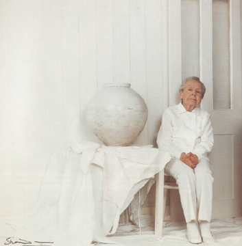 with one of her moon jars. 1990. photography by armstrong-jones, a.