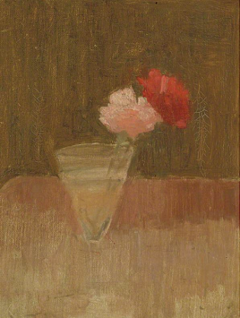 carnations in a glass vase. 1940s