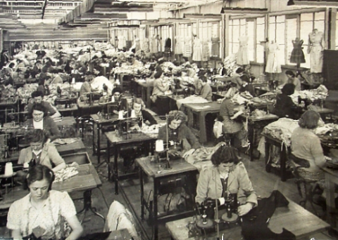 sewing room, gawler manufacturing company, australia. 1940s