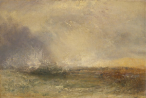 stormy sea breaking on a shore. 1840-1845