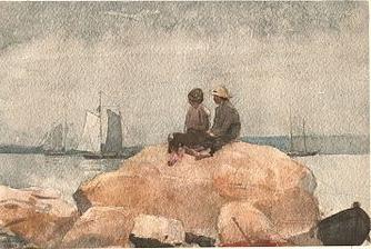 Two boys watching schooners. 1880