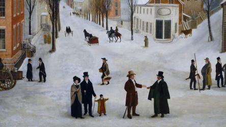 Winter scene in Brooklyn. 1820
