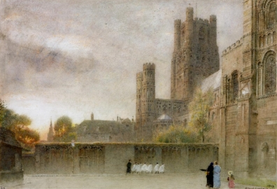 Ely cathedral. Watercolour on paper. 1908