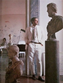 In his Roma Apartment. Photographed by Horst P Horst. 1966