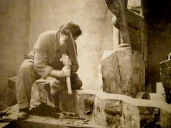 Chopping away at an Endless Column. 1924