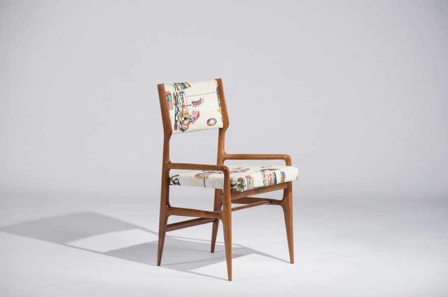 Walnut fabric chair, 1960